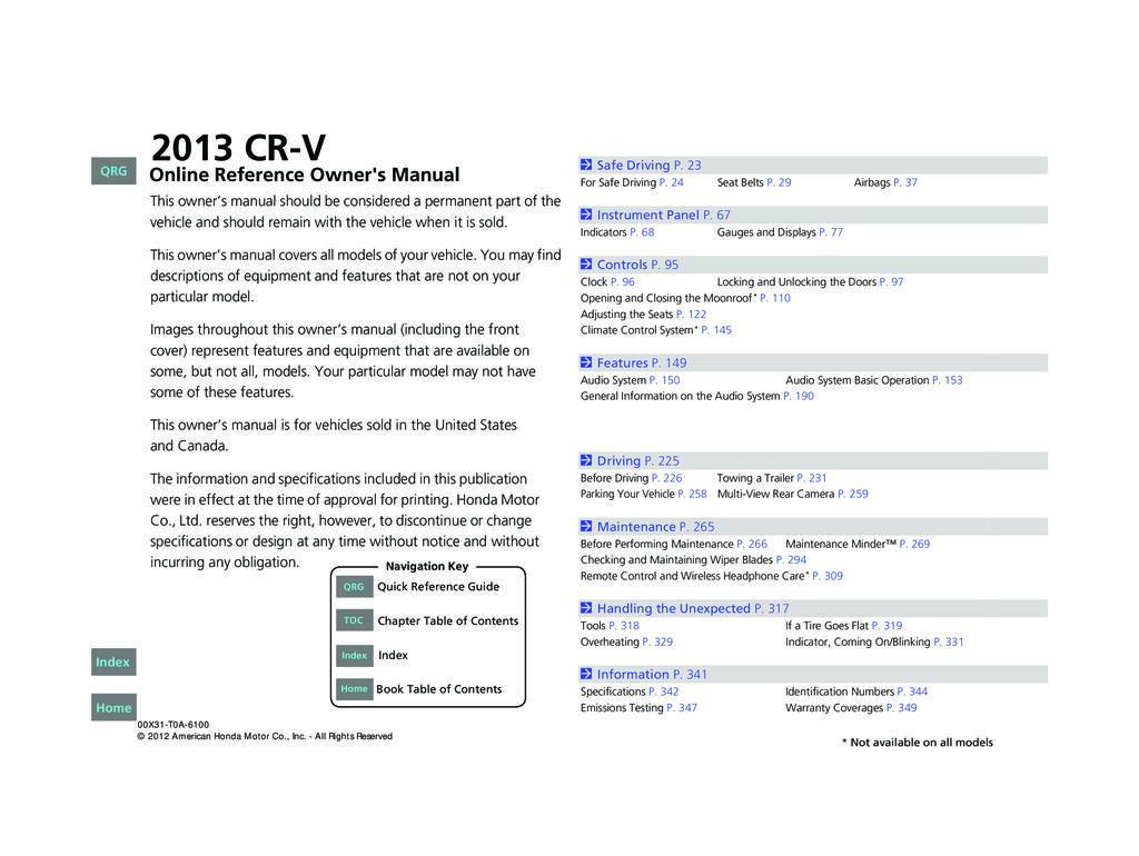 2013 Honda CrV owners manual