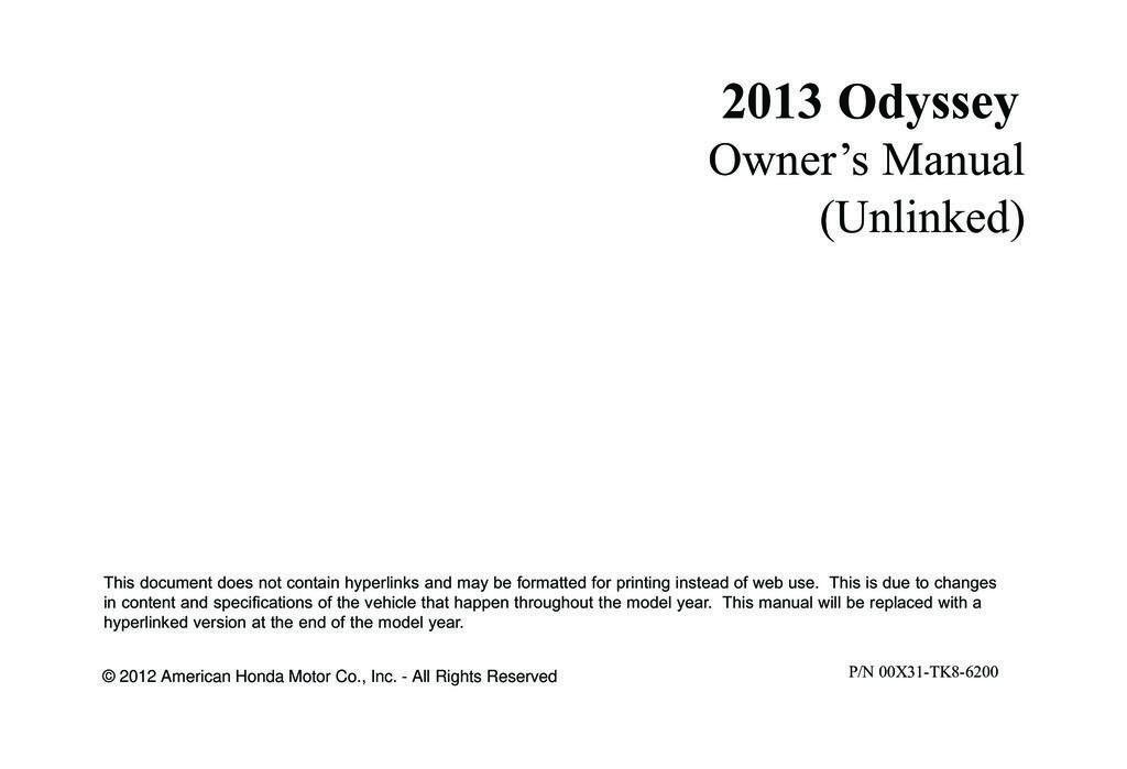 2013 Honda Odyssey owners manual