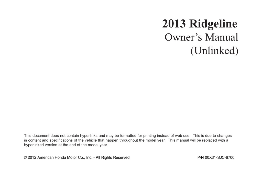 2013 Honda Ridgeline owners manual
