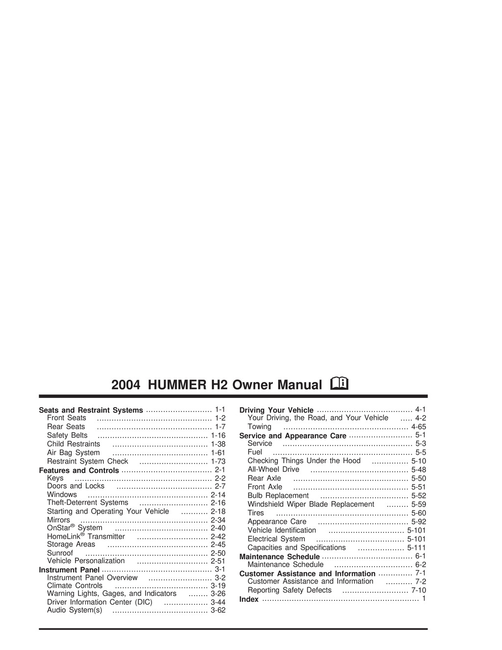 2004 Hummer H2 owners manual