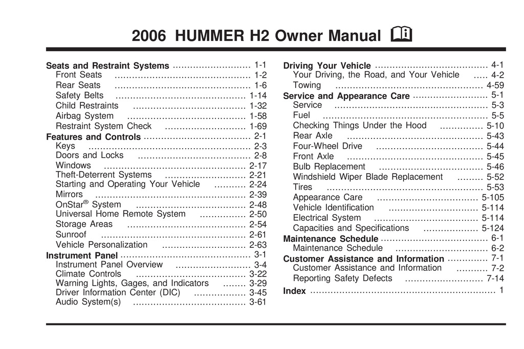 2006 Hummer H2 owners manual