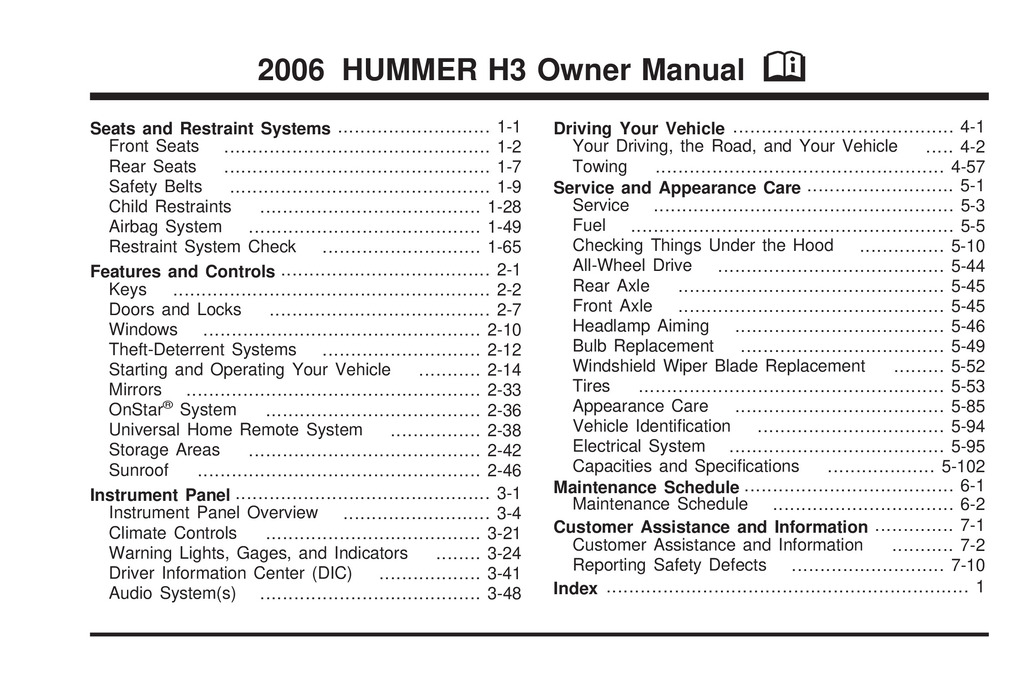 2006 Hummer H3 owners manual