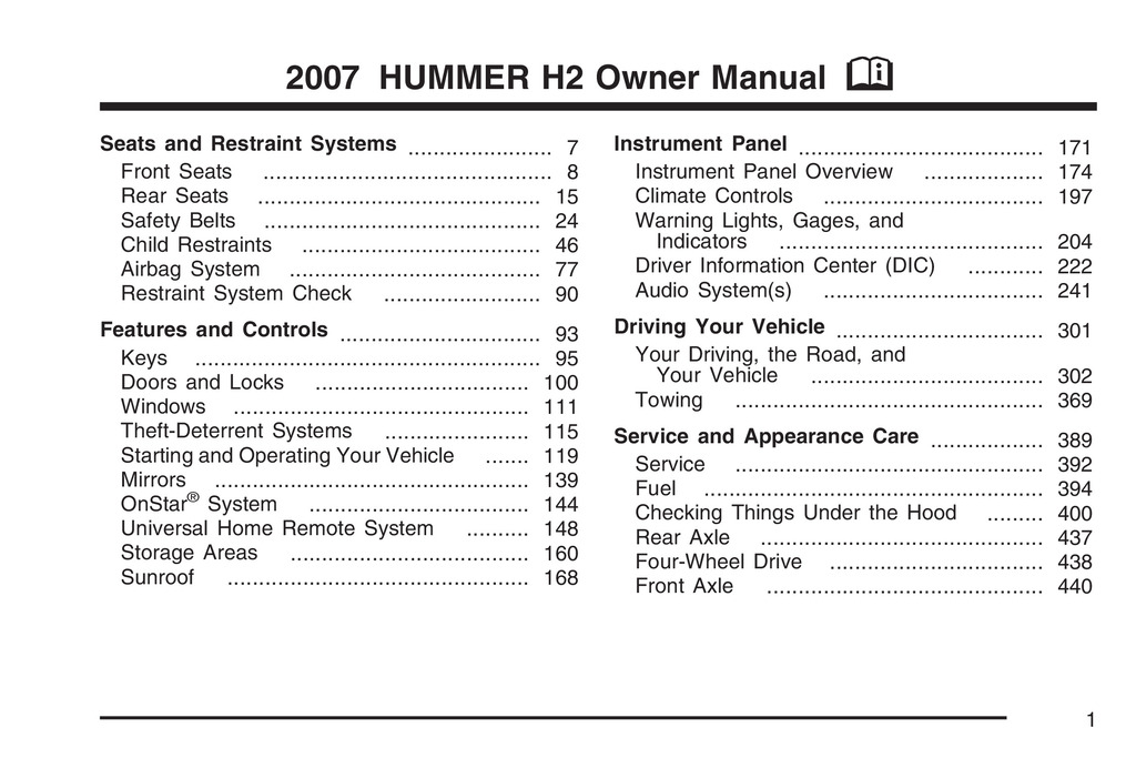 2007 Hummer H2 owners manual