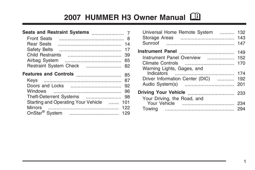 2007 Hummer H3 owners manual