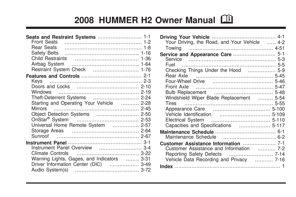 2008 Hummer H2 owners manual
