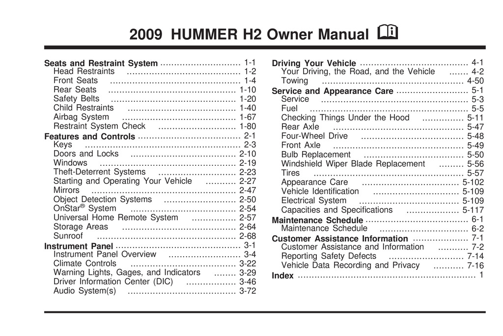 2009 Hummer H2 owners manual