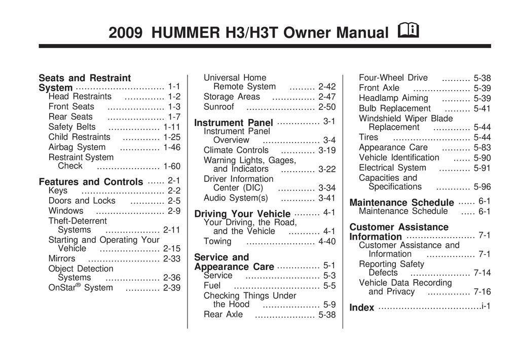 2009 Hummer H3 owners manual