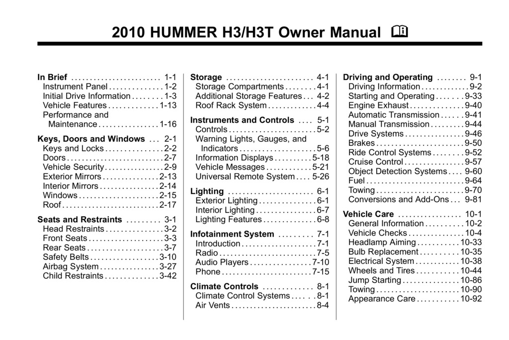 2010 Hummer H3 owners manual