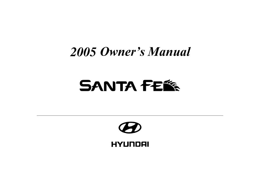 2005 Hyundai Santa Fe owners manual