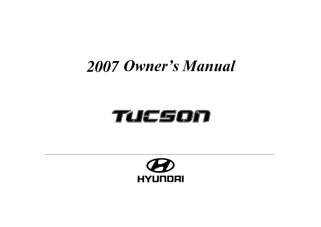 2007 Hyundai Tucson owners manual