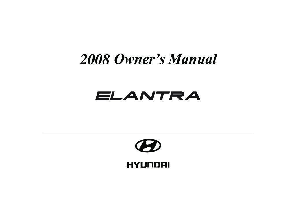 2008 Hyundai Elantra owners manual