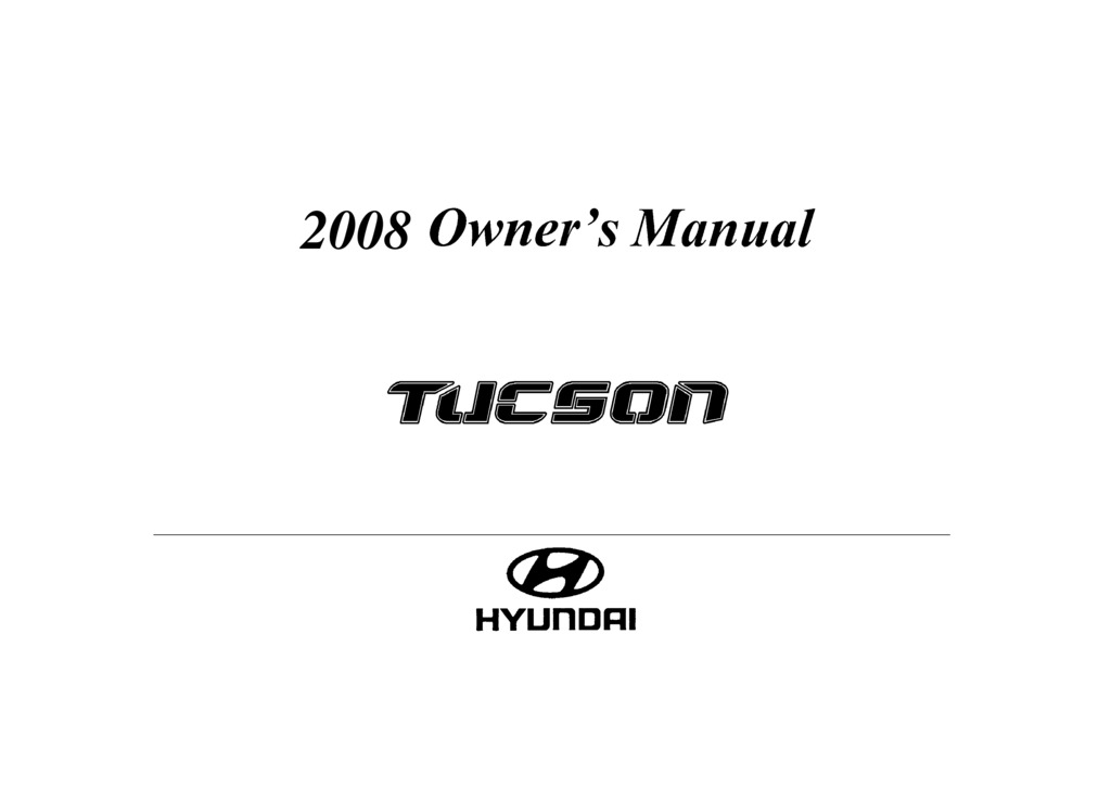 2008 Hyundai Tucson owners manual