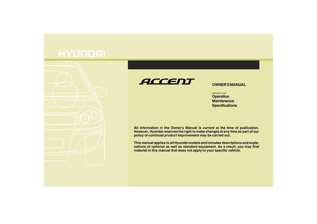 2009 Hyundai Accent owners manual