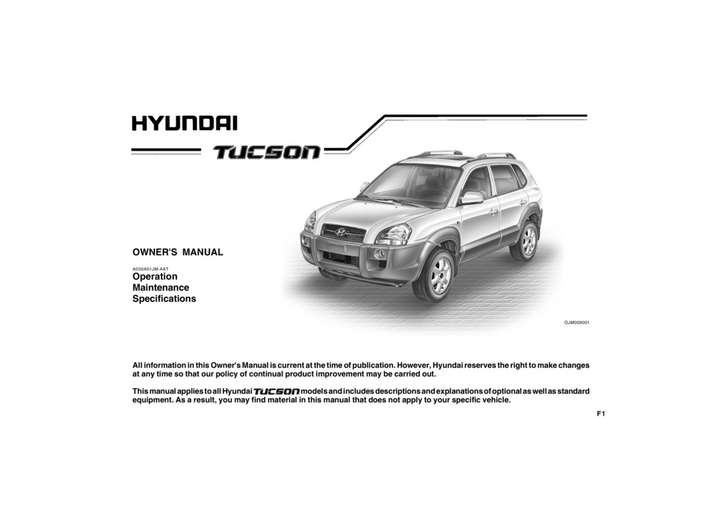 2009 Hyundai Tucson owners manual