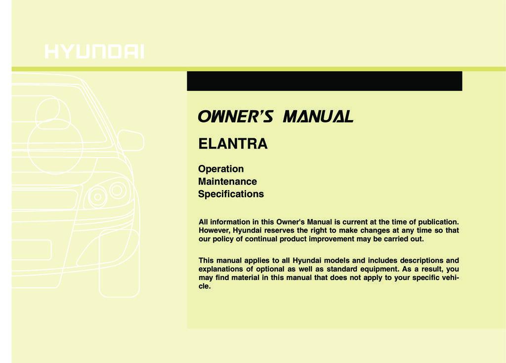 2010 Hyundai Elantra owners manual
