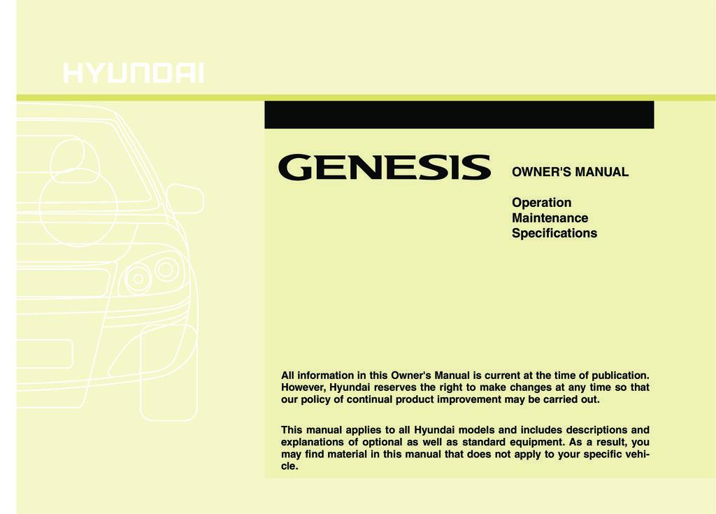 2010 Hyundai Genesis owners manual