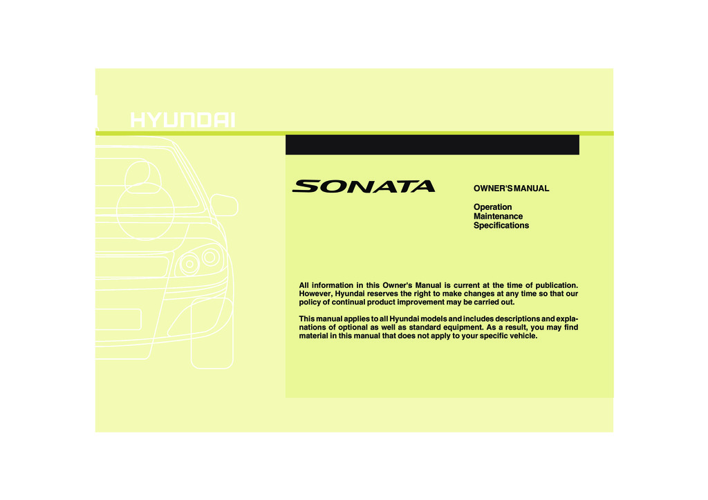 2010 Hyundai Sonata owners manual