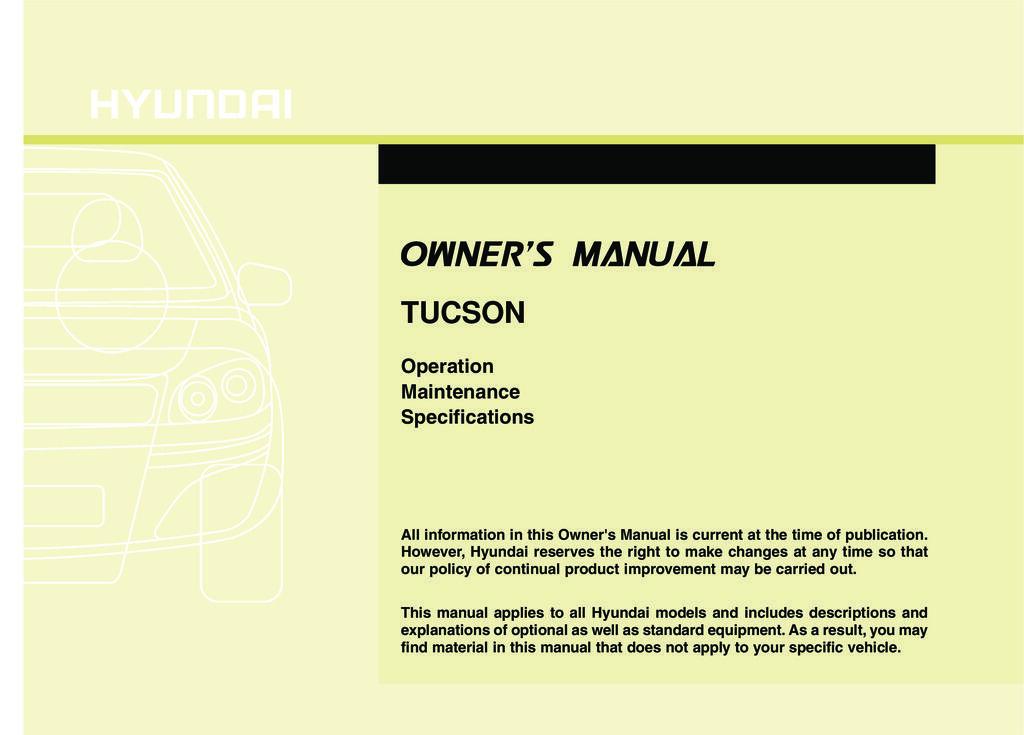 2010 Hyundai Tucson owners manual