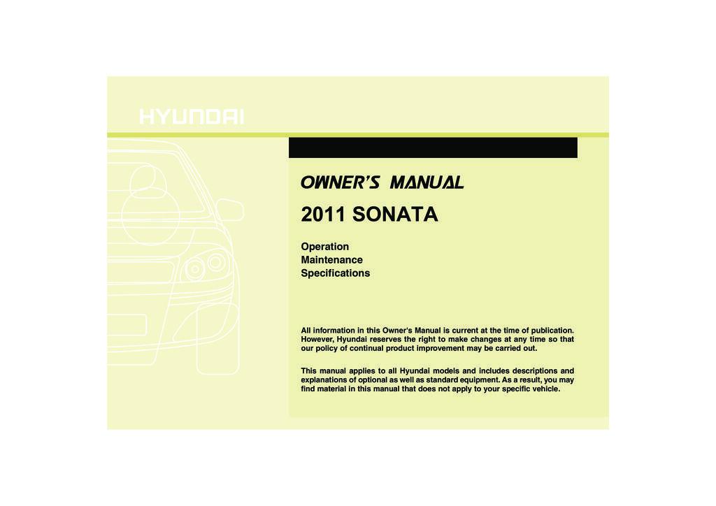 2011 Hyundai Sonata owners manual