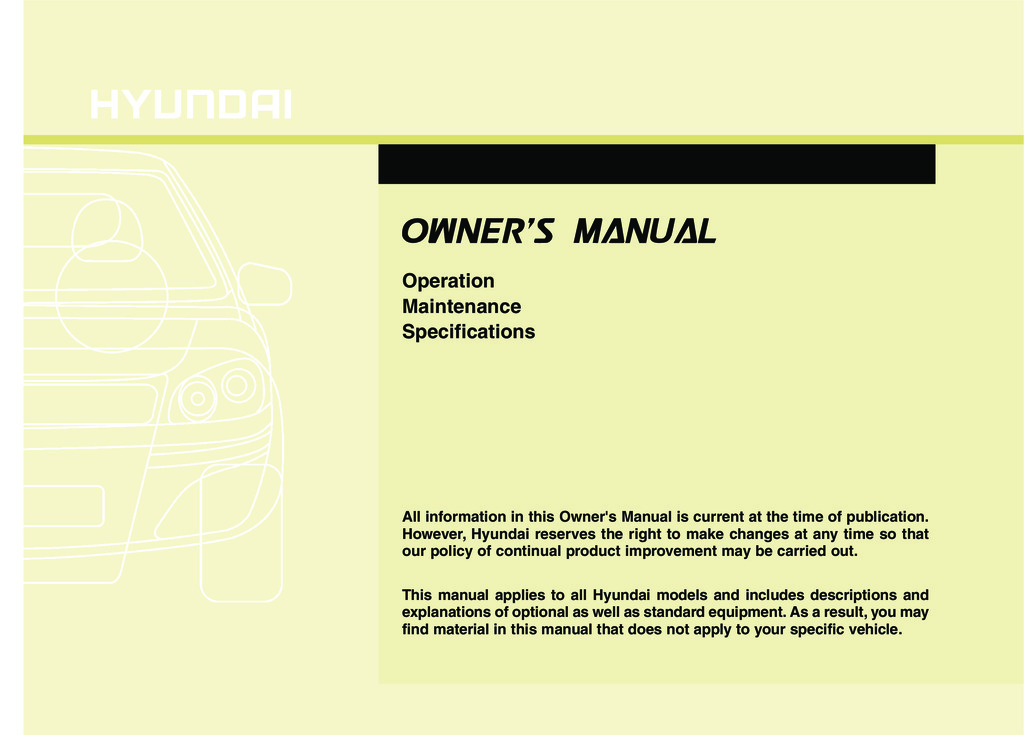 2011 Hyundai Elantra owners manual