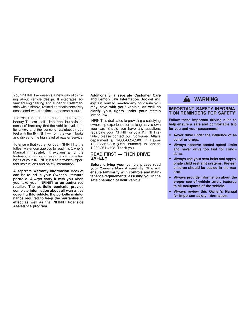 2003 Infiniti G35 owners manual