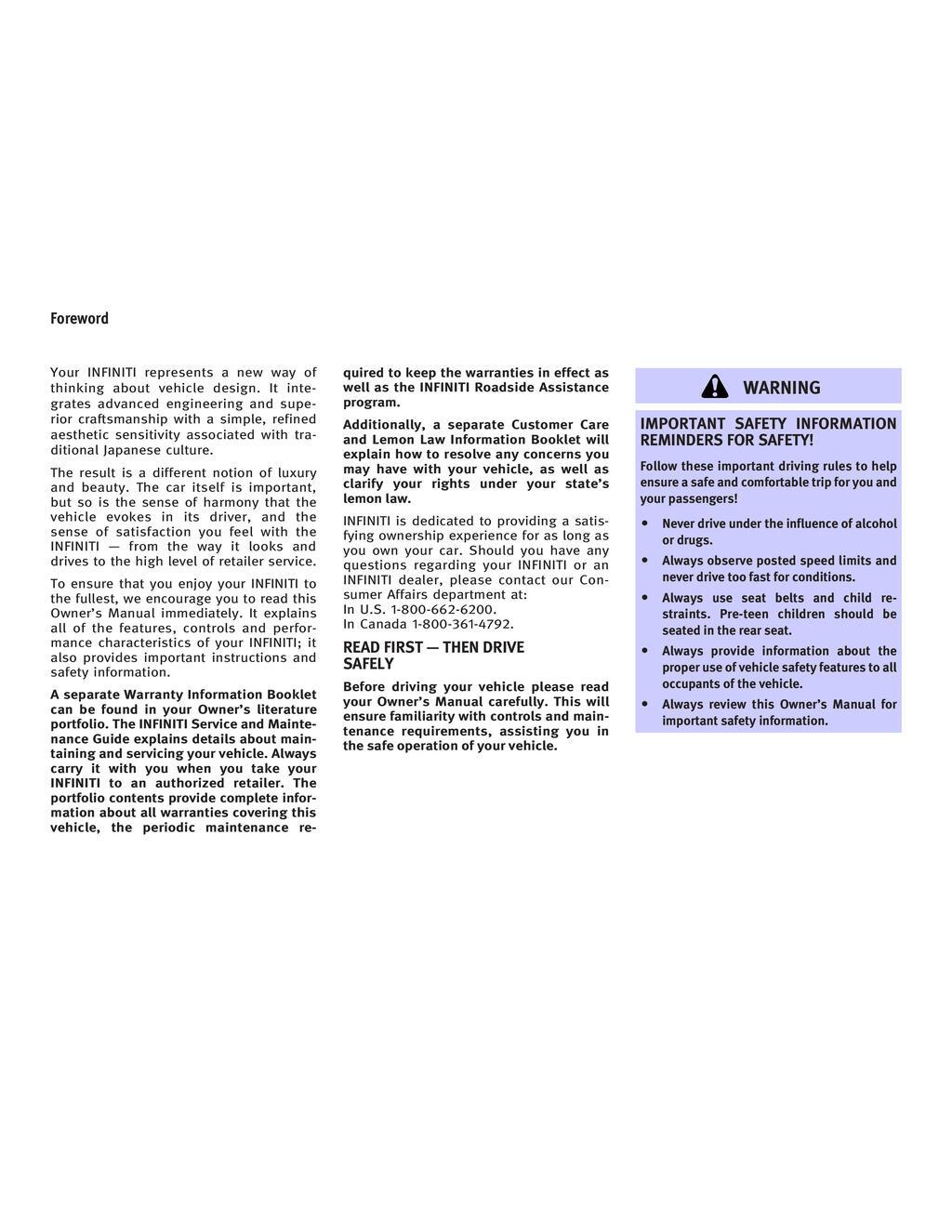 2006 Infiniti G35 owners manual