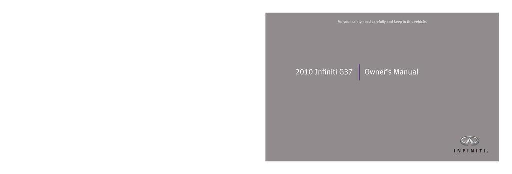 2010 Infiniti G37 owners manual