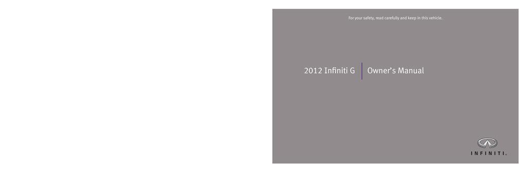 2012 Infiniti G37 owners manual