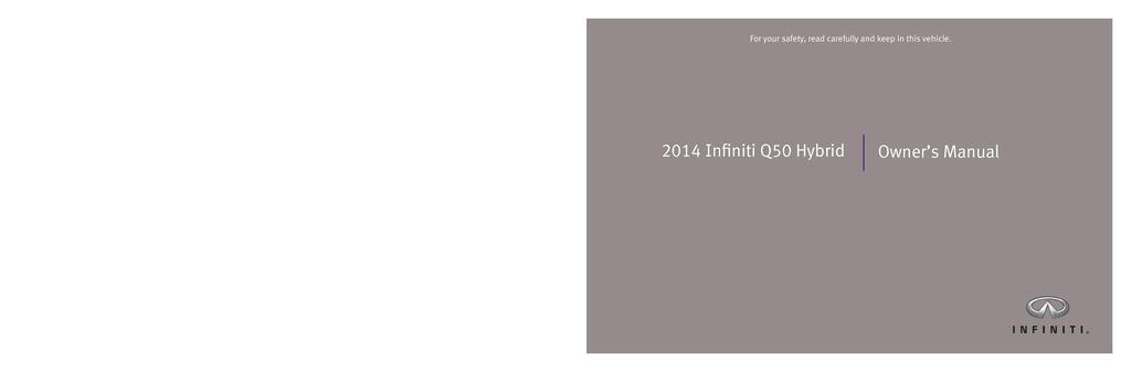 2014 Infiniti Q50 Hybrid owners manual