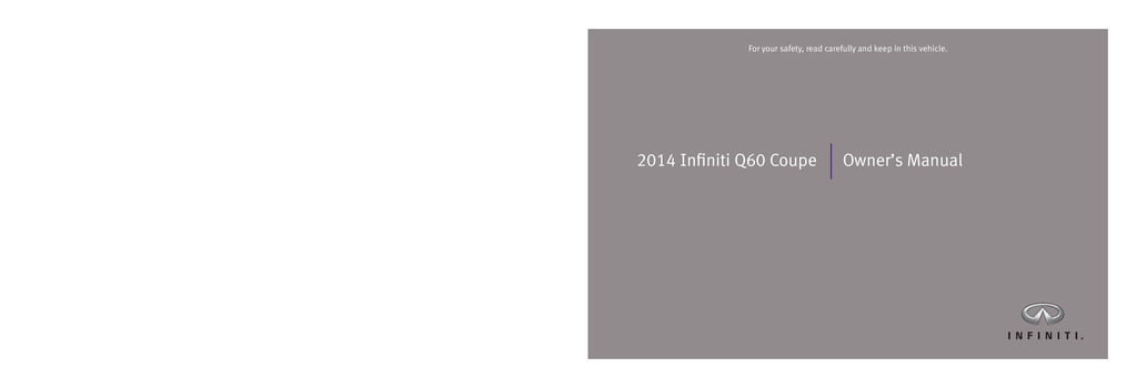 2014 Infiniti Q60 Coupe owners manual