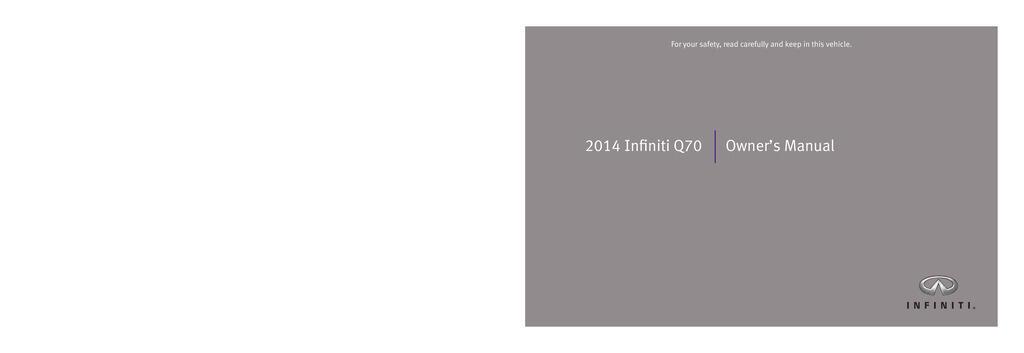 2014 Infiniti Q70 owners manual