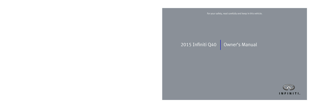 2015 Infiniti Q40 owners manual