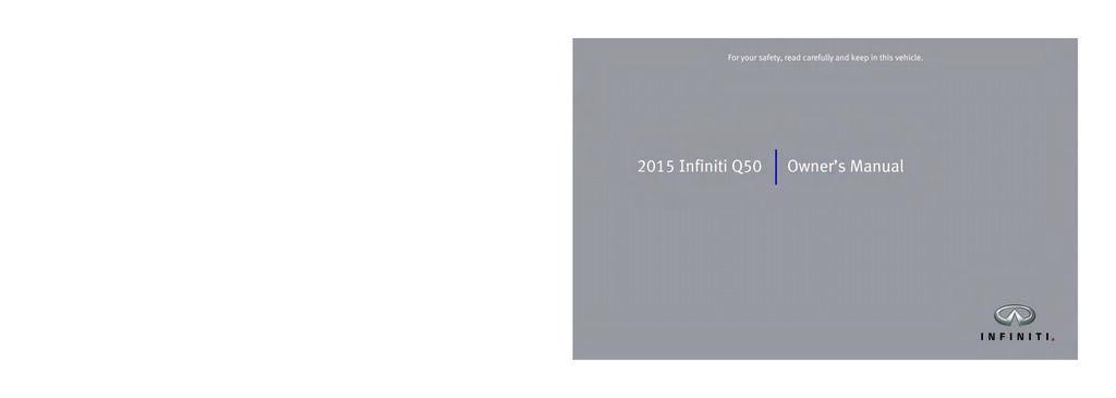 2015 Infiniti Q50 owners manual