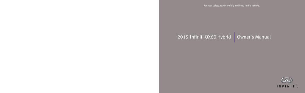 2015 Infiniti Qx60 Hybrid owners manual
