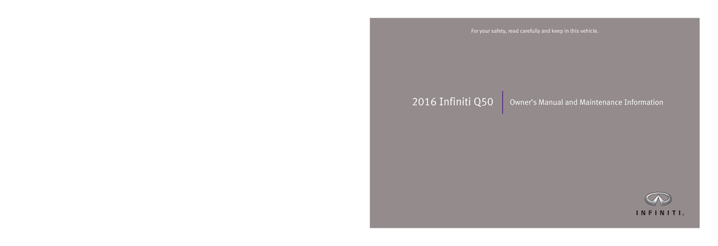 2016 Infiniti Q50 owners manual
