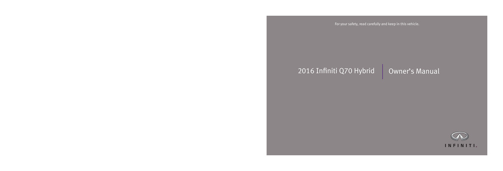 2016 Infiniti Q70 Hybrid owners manual