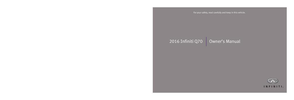 2016 Infiniti Q70 owners manual