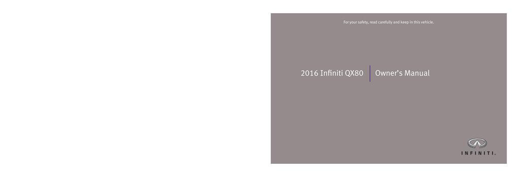 2016 Infiniti Qx80 owners manual