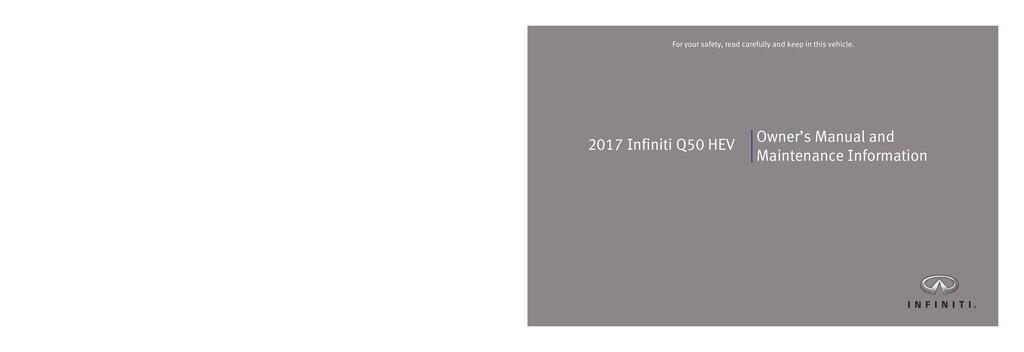 2017 Infiniti Q50 Hybrid owners manual