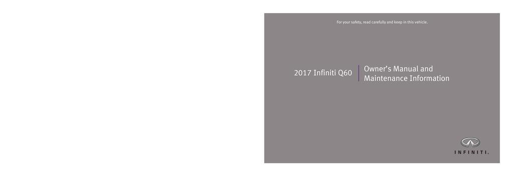 2017 Infiniti Q60 owners manual
