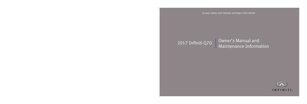 2017 Infiniti Q70 owners manual