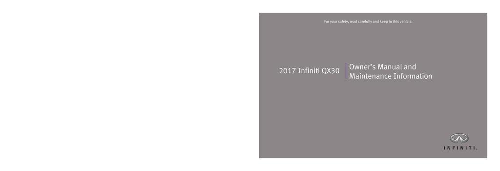2017 Infiniti Qx30 owners manual