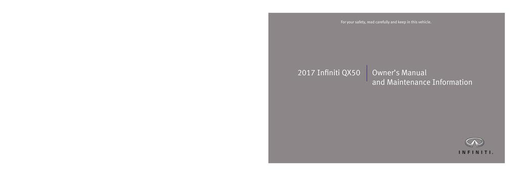 2017 Infiniti Qx50 owners manual