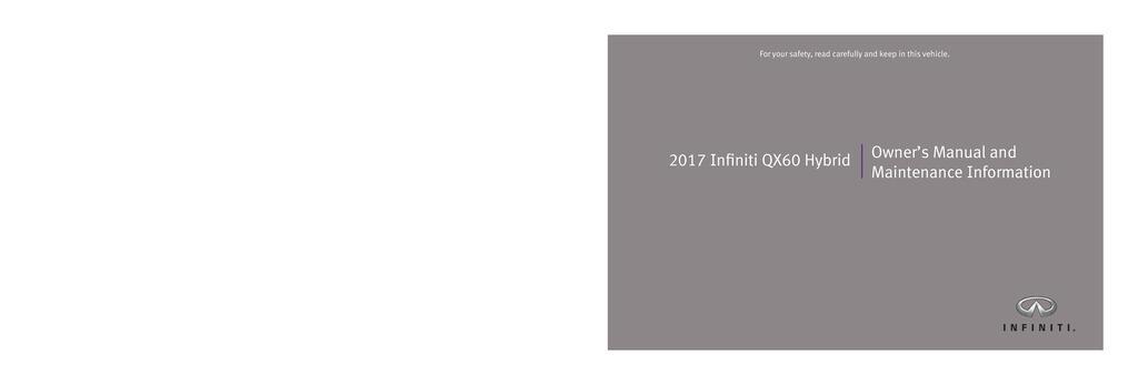2017 Infiniti Qx60 Hybrid owners manual