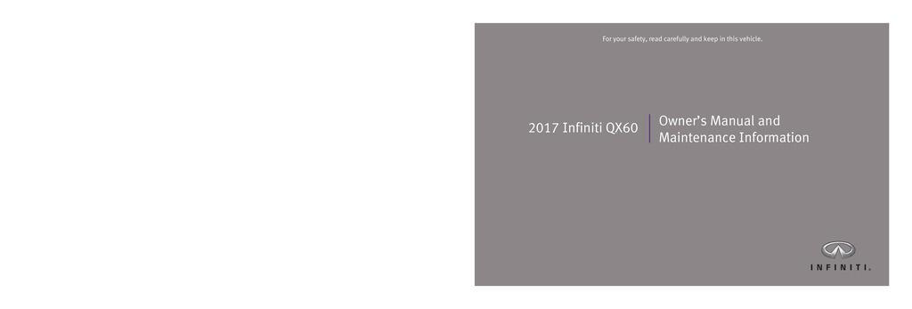 2017 Infiniti Qx60 owners manual