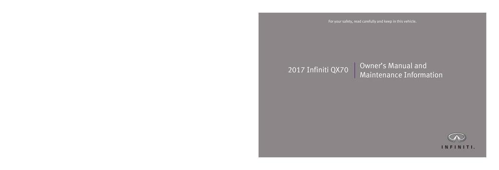 2017 Infiniti Qx70 owners manual