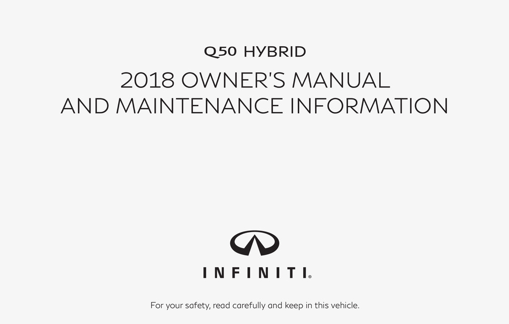 2018 Infiniti Q50 Hybrid owners manual