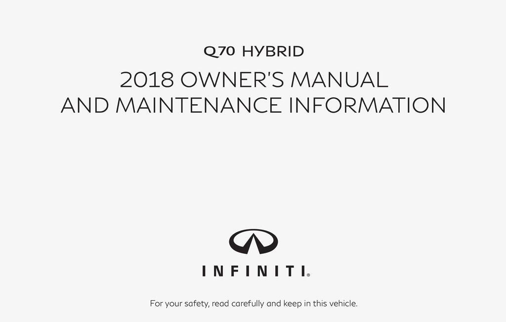 2018 Infiniti Q70 Hybrid owners manual
