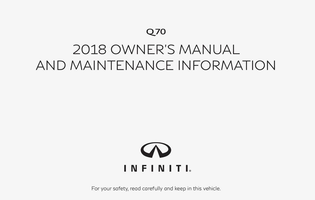 2018 Infiniti Q70 owners manual