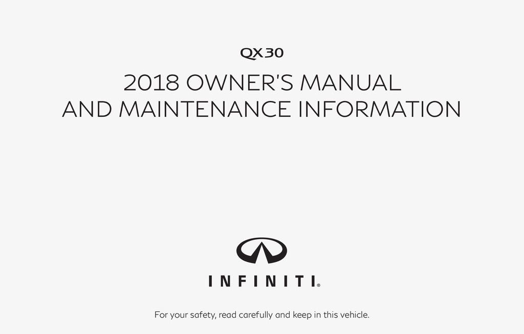 2018 Infiniti Qx30 owners manual